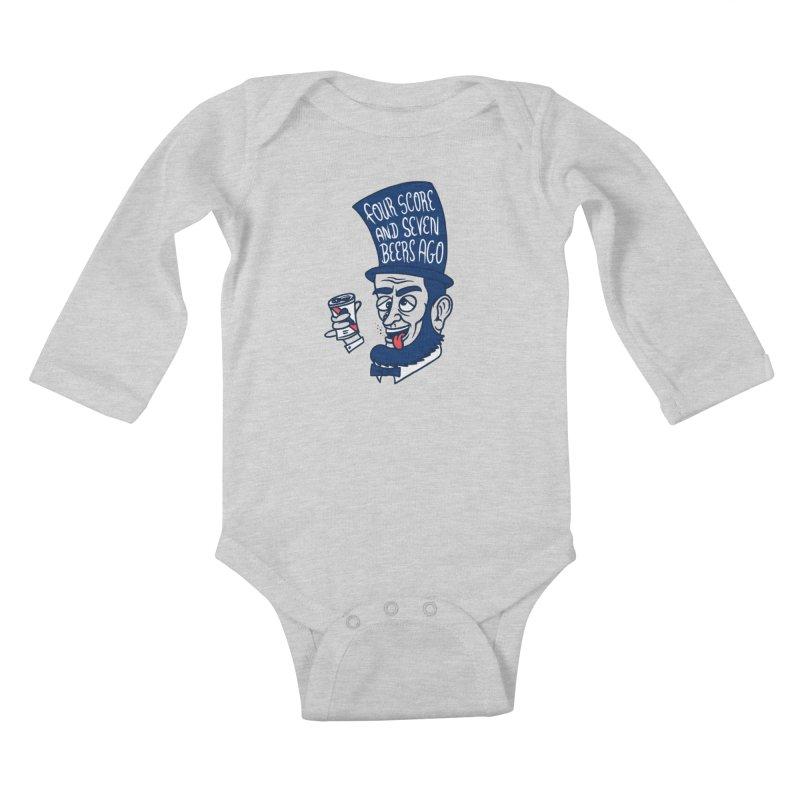 Abe Drincoln Kids Baby Longsleeve Bodysuit by SteveOramA