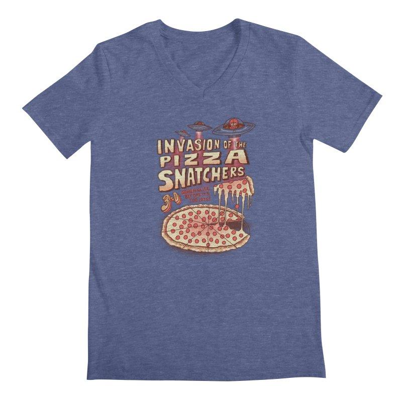 Invasion of the Pizza Snatchers Men's V-Neck by SteveOramA