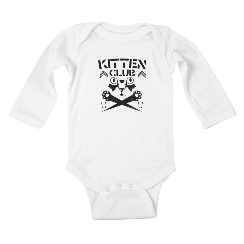 Kitten Club Black Kids Baby Longsleeve Bodysuit by Stevie Richards Artist Shop