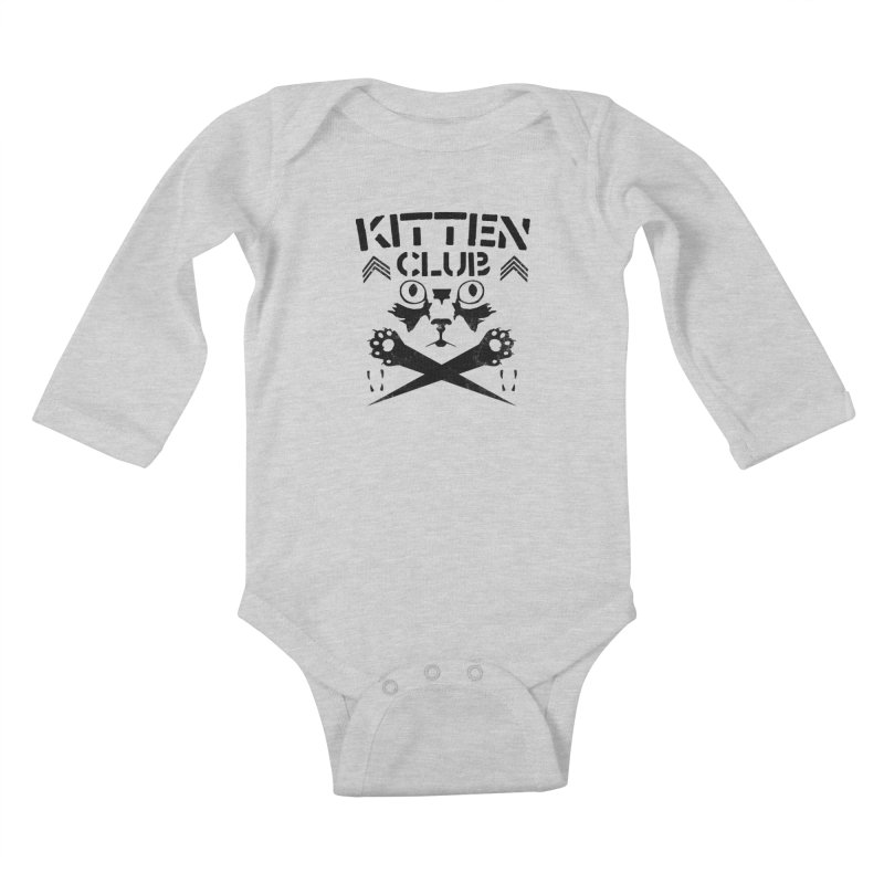 Kitten Club Black Kids Baby Longsleeve Bodysuit by Stevie Richards Artist Shop