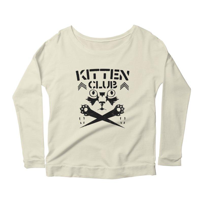 Kitten Club Black Women's Scoop Neck Longsleeve T-Shirt by Stevie Richards Artist Shop