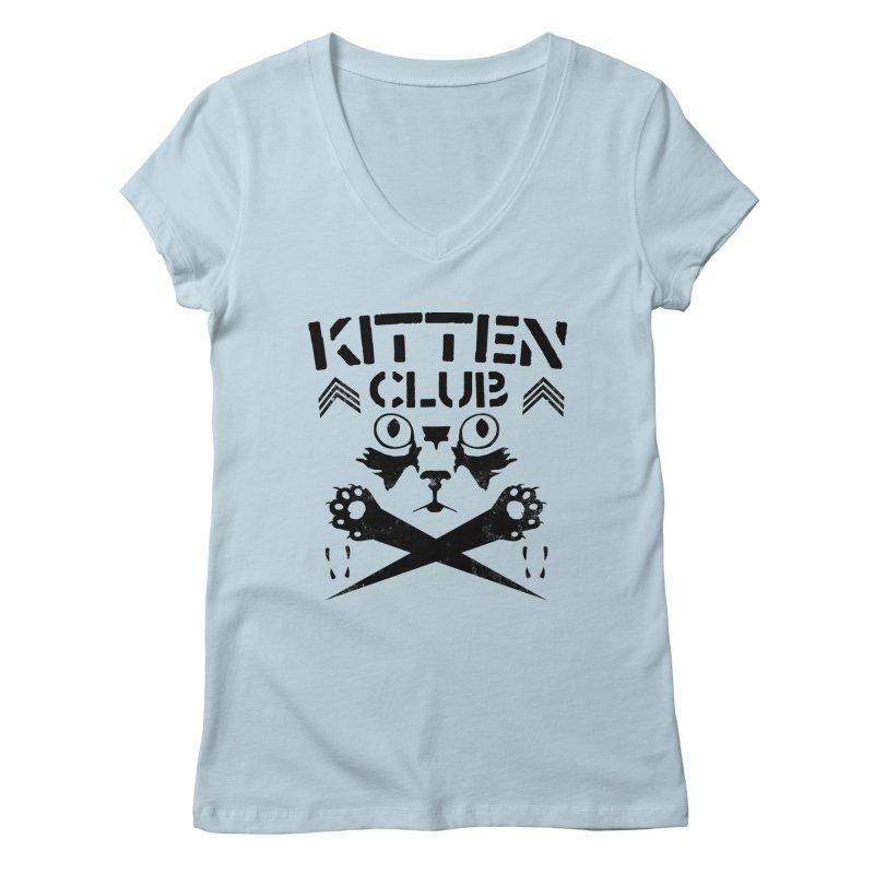 Kitten Club Black Women's Regular V-Neck by Stevie Richards Artist Shop