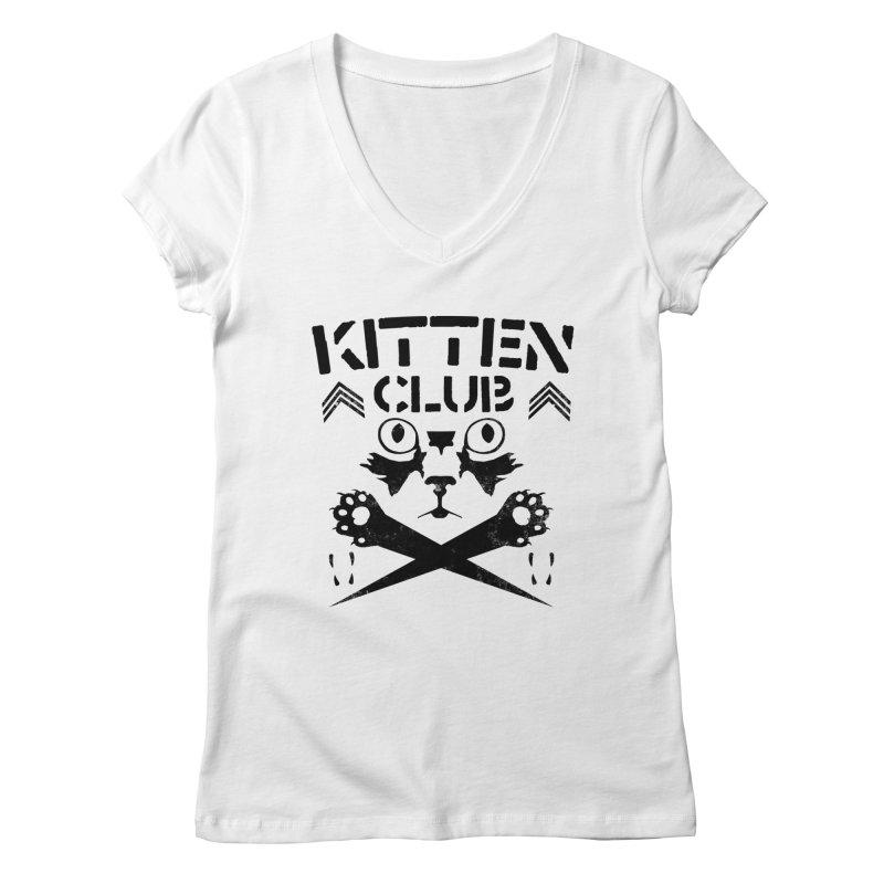 Kitten Club Black Women's V-Neck by Stevie Richards Artist Shop