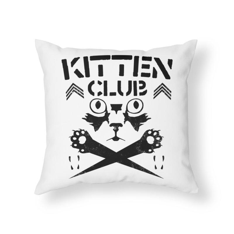 Kitten Club Black Home Throw Pillow by Stevie Richards Artist Shop