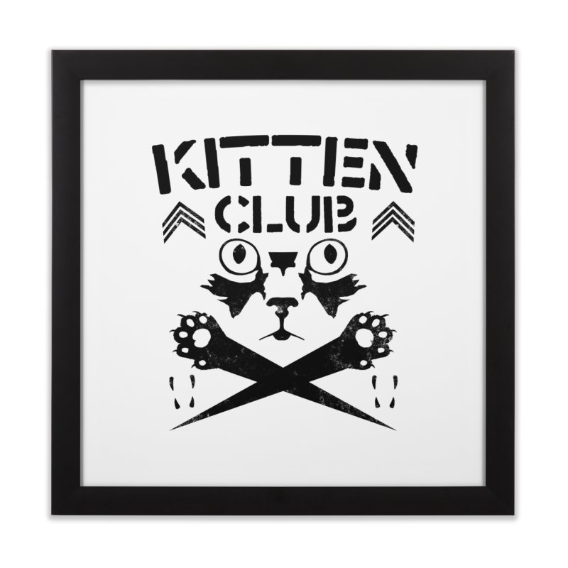 Kitten Club Black Home Framed Fine Art Print by Stevie Richards Artist Shop