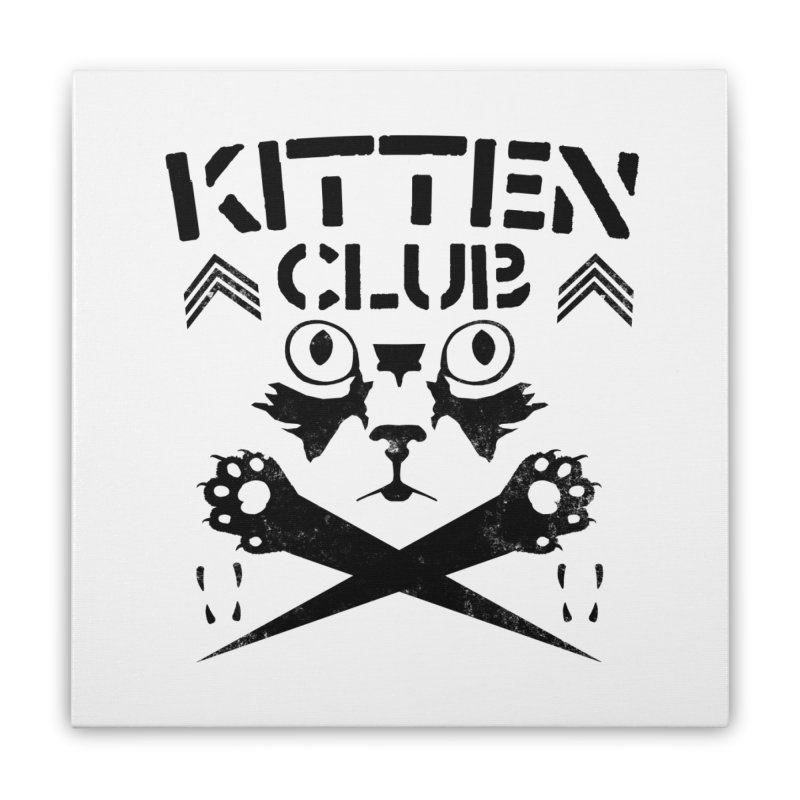 Kitten Club Black Home Stretched Canvas by Stevie Richards Artist Shop