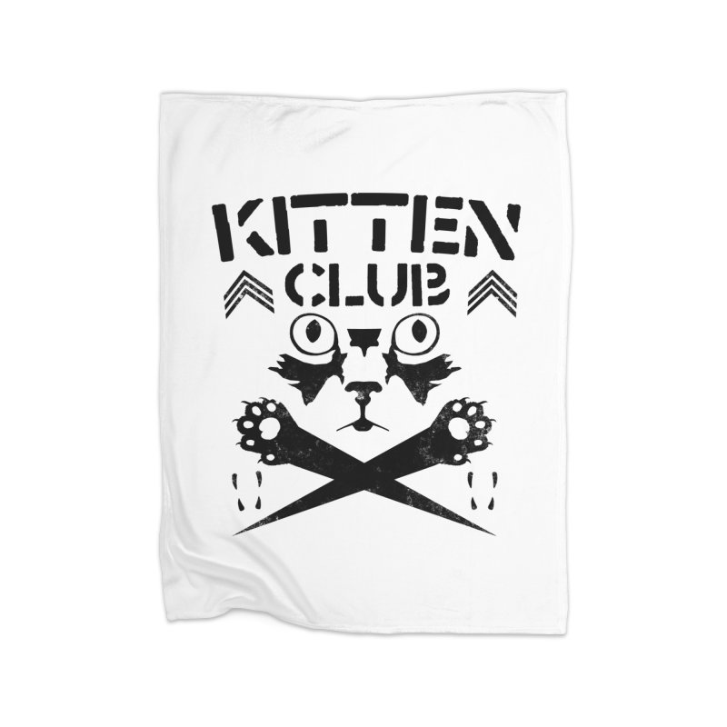 Kitten Club Black Home Fleece Blanket Blanket by Stevie Richards Artist Shop