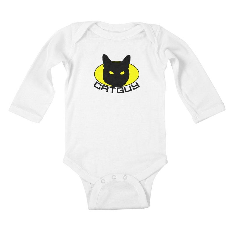 CAT-GUY! Kids Baby Longsleeve Bodysuit by Stevie Richards Artist Shop