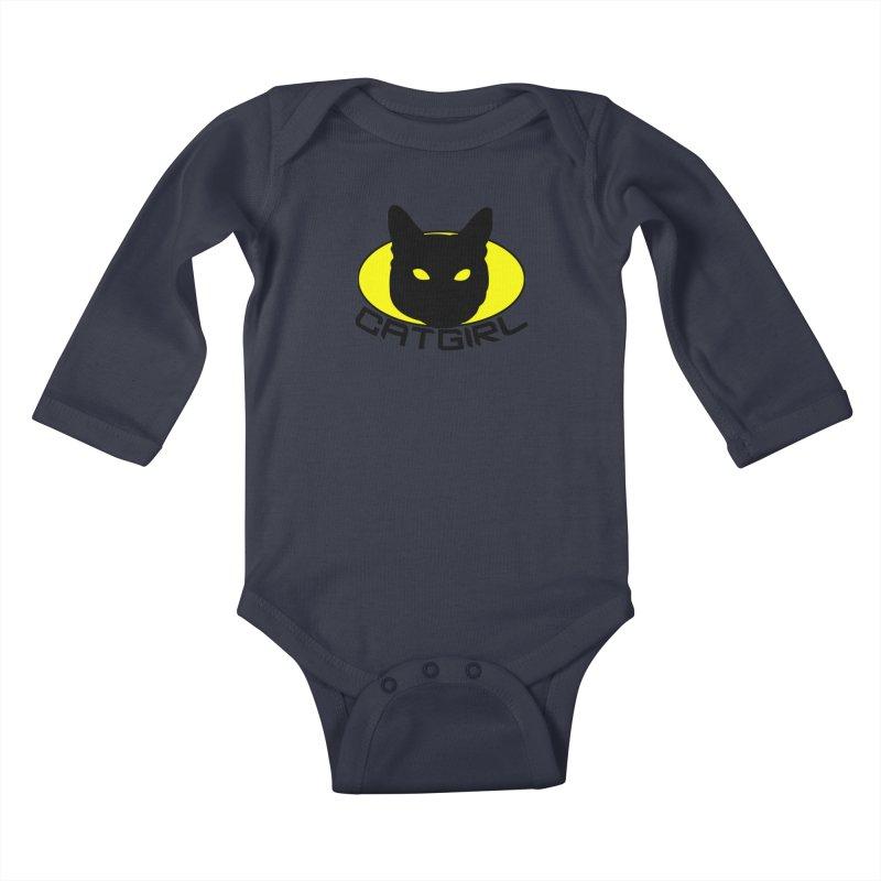CAT-GIRL! Kids Baby Longsleeve Bodysuit by Stevie Richards Artist Shop