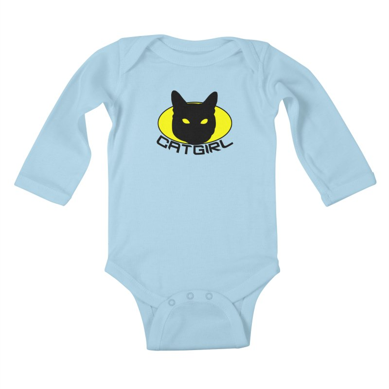 CAT-GIRL! Kids Baby Longsleeve Bodysuit by Stevie Richards Artist Shop