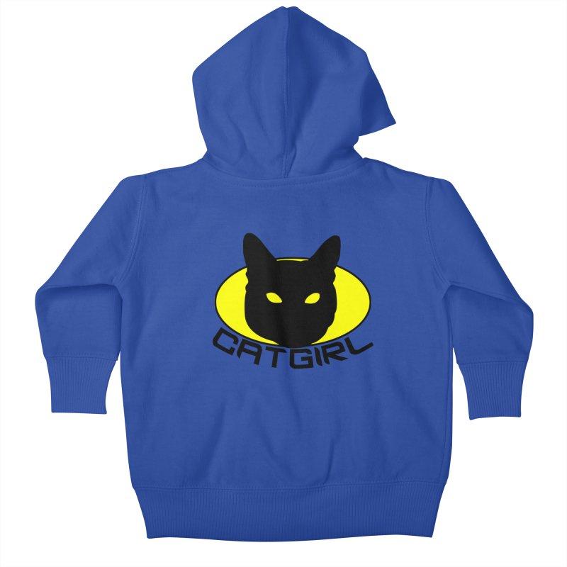 CAT-GIRL! Kids Baby Zip-Up Hoody by Stevie Richards Artist Shop