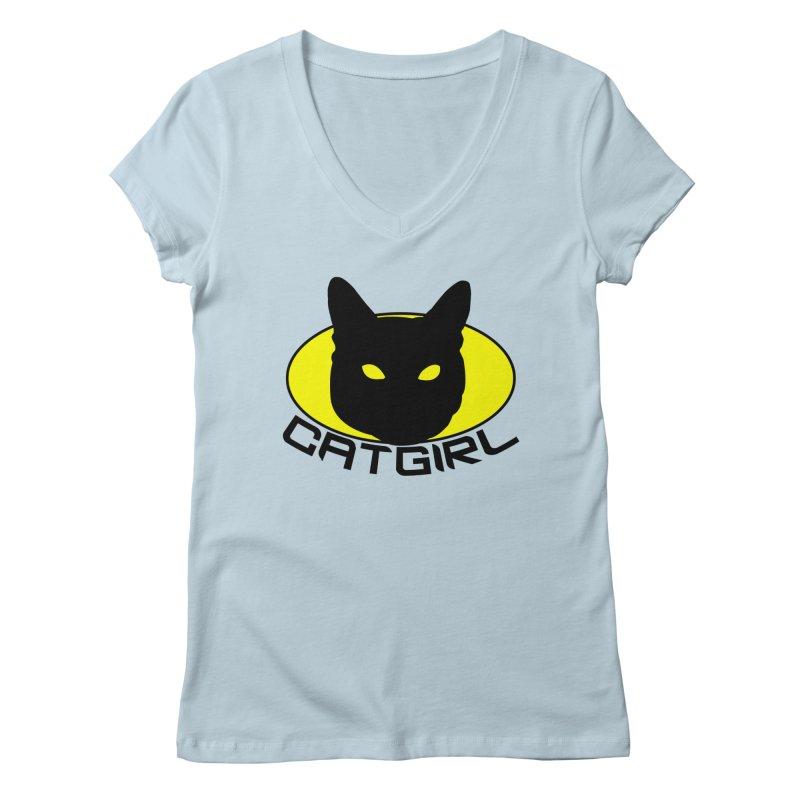 CAT-GIRL! Women's V-Neck by Stevie Richards Artist Shop