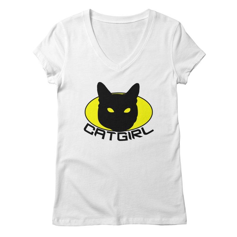 CAT-GIRL! Women's Regular V-Neck by Stevie Richards Artist Shop