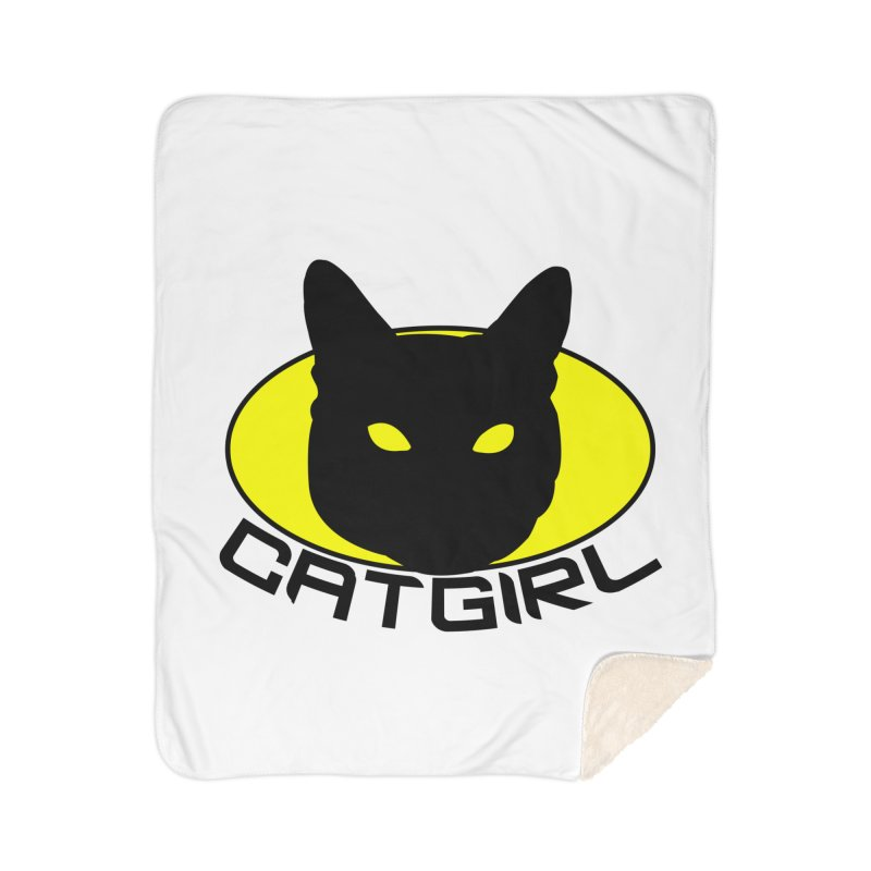 CAT-GIRL! Home Sherpa Blanket Blanket by Stevie Richards Artist Shop