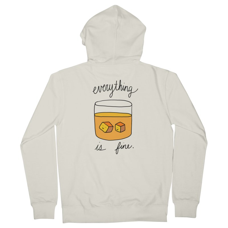 Everything is fine. Men's French Terry Zip-Up Hoody by Stick Figure Girl Stuff