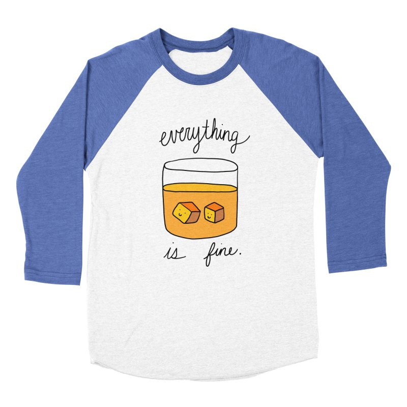 Everything is fine. Men's Baseball Triblend Longsleeve T-Shirt by Stick Figure Girl Stuff