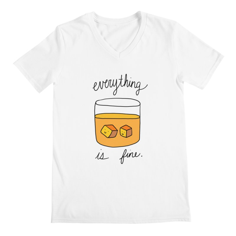Everything is fine. Men's Regular V-Neck by Stick Figure Girl Stuff
