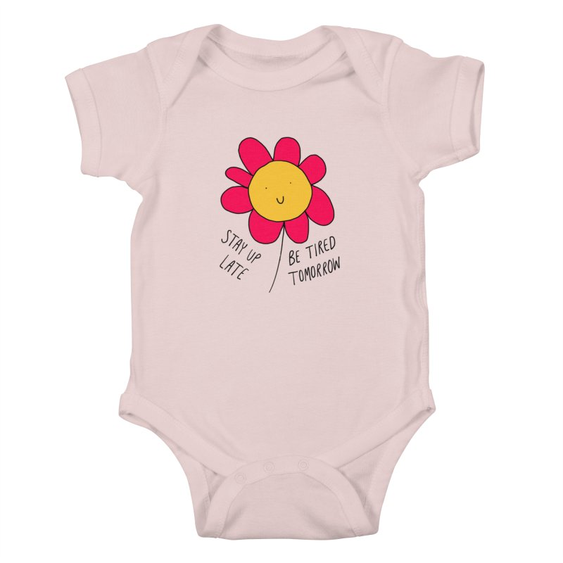 Stay up late. Be tired tomorrow. Kids Baby Bodysuit by Stick Figure Girl Stuff