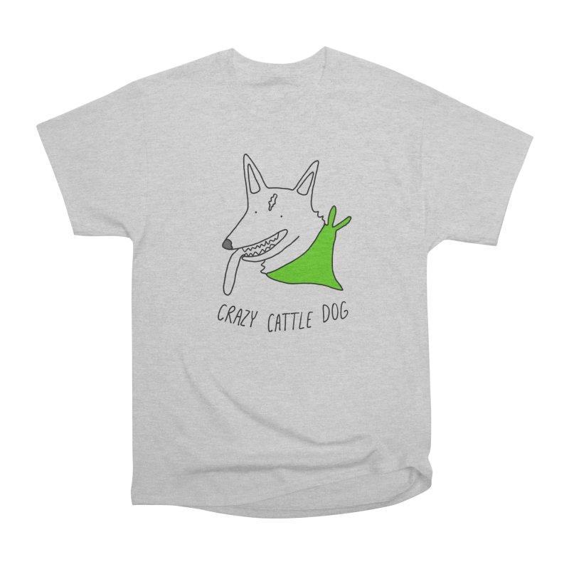 Crazy Cattle Dog Women's Heavyweight Unisex T-Shirt by Stick Figure Girl Stuff