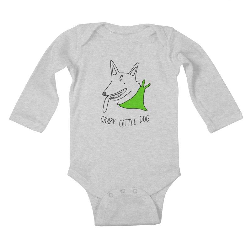 Crazy Cattle Dog Kids Baby Longsleeve Bodysuit by Stick Figure Girl Stuff