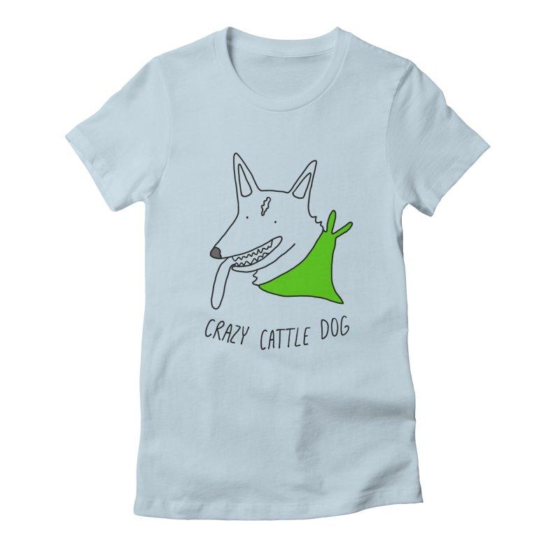 Crazy Cattle Dog Women's T-Shirt by Stick Figure Girl Stuff