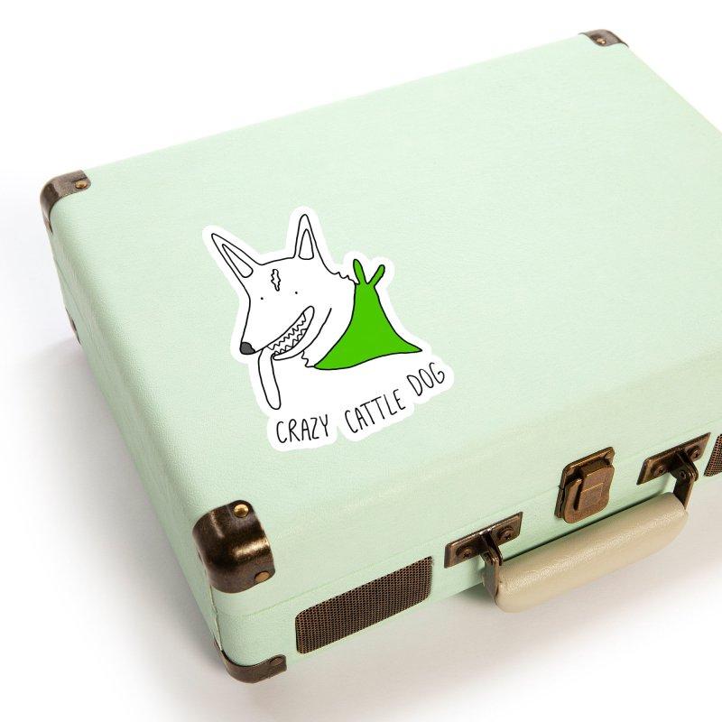 Crazy Cattle Dog Accessories Sticker by Stick Figure Girl Stuff