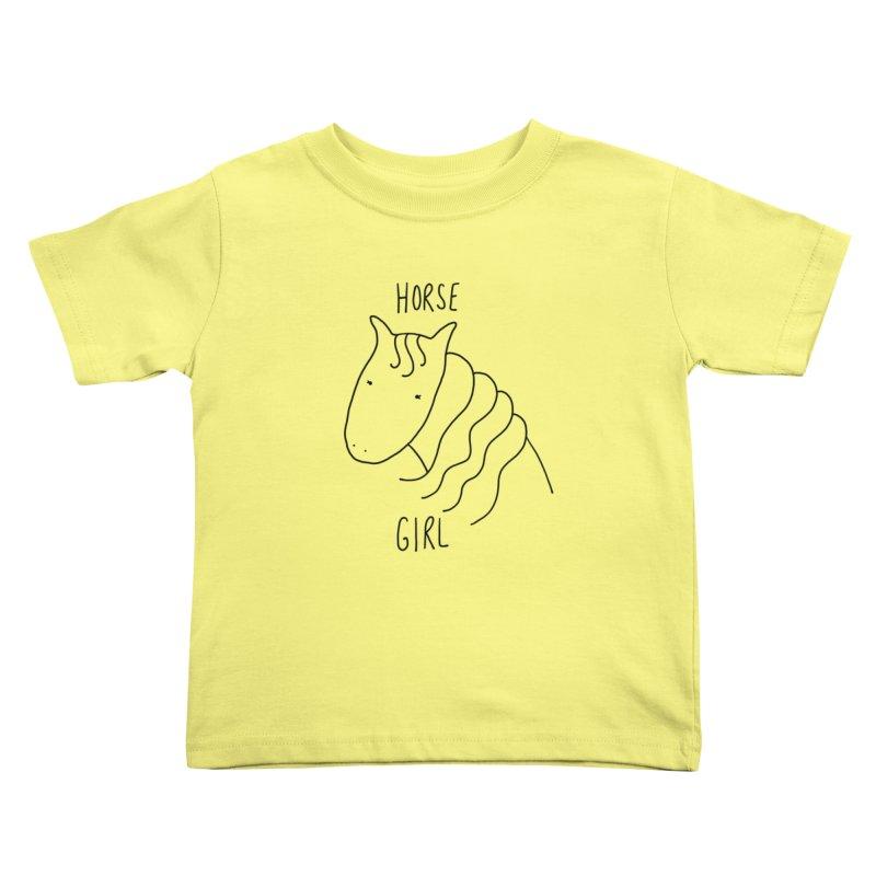 Horse Girl Kids Toddler T-Shirt by Stick Figure Girl Stuff