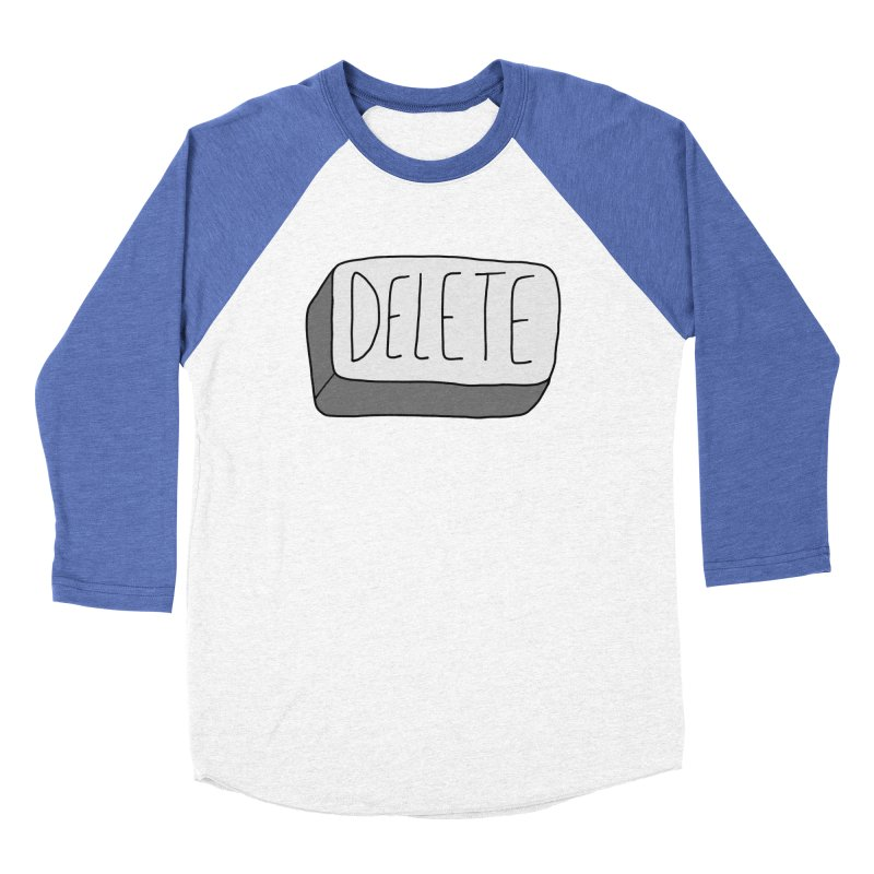 Delete Key Men's Baseball Triblend Longsleeve T-Shirt by Stick Figure Girl Stuff