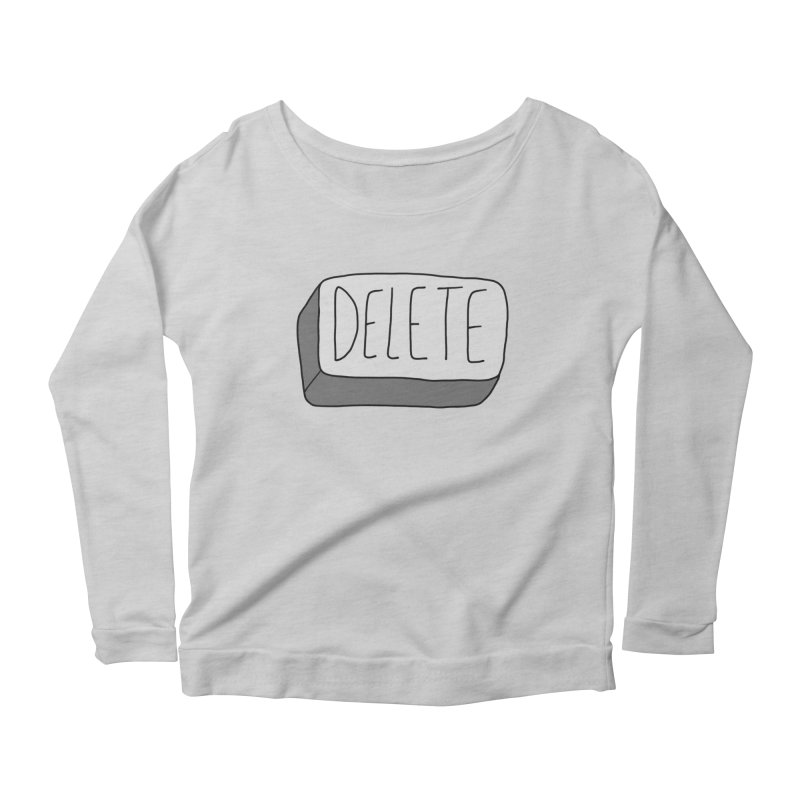 Delete Key Women's Scoop Neck Longsleeve T-Shirt by Stick Figure Girl Stuff