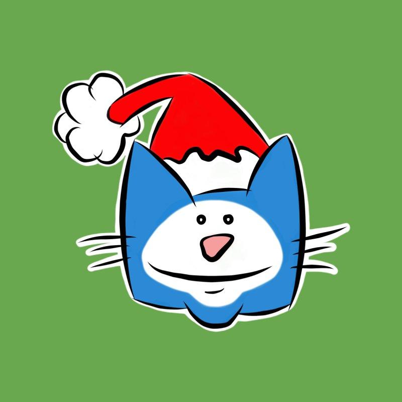 Funny Cute Cartoon Christmas Xmas Cat in a Santa Hat by stíobhart's shack