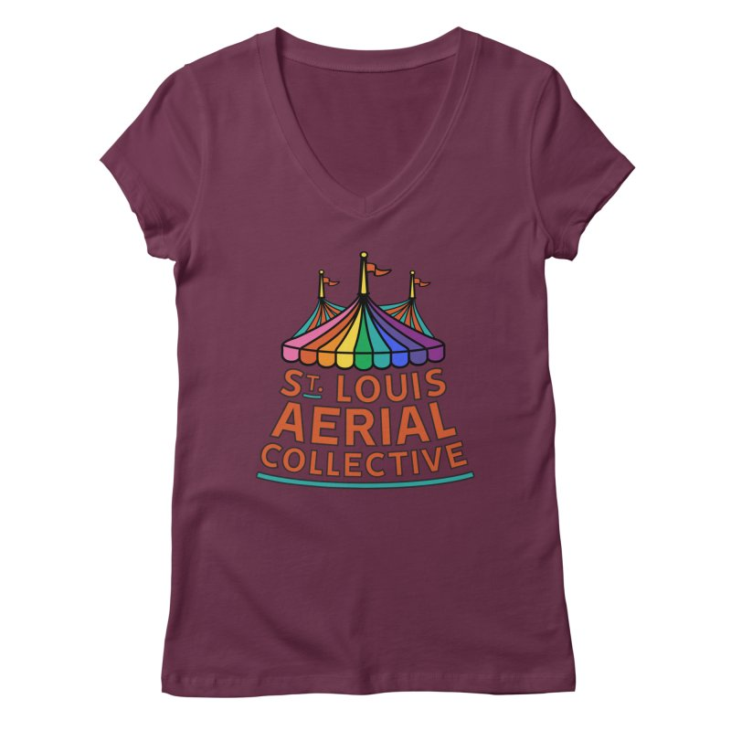 Color Rainbow Logo Women's Regular V-Neck by St. Louis Aerial Collective