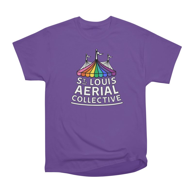 B&W Rainbow Logo Men's Heavyweight T-Shirt by St. Louis Aerial Collective