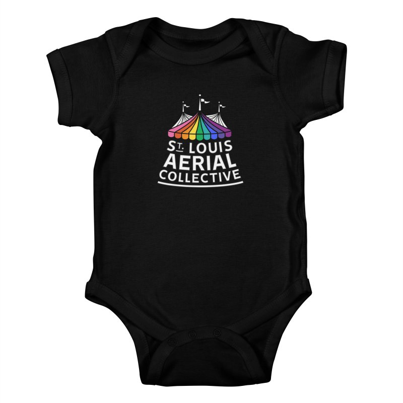 B&W Rainbow Logo Kids Baby Bodysuit by St. Louis Aerial Collective