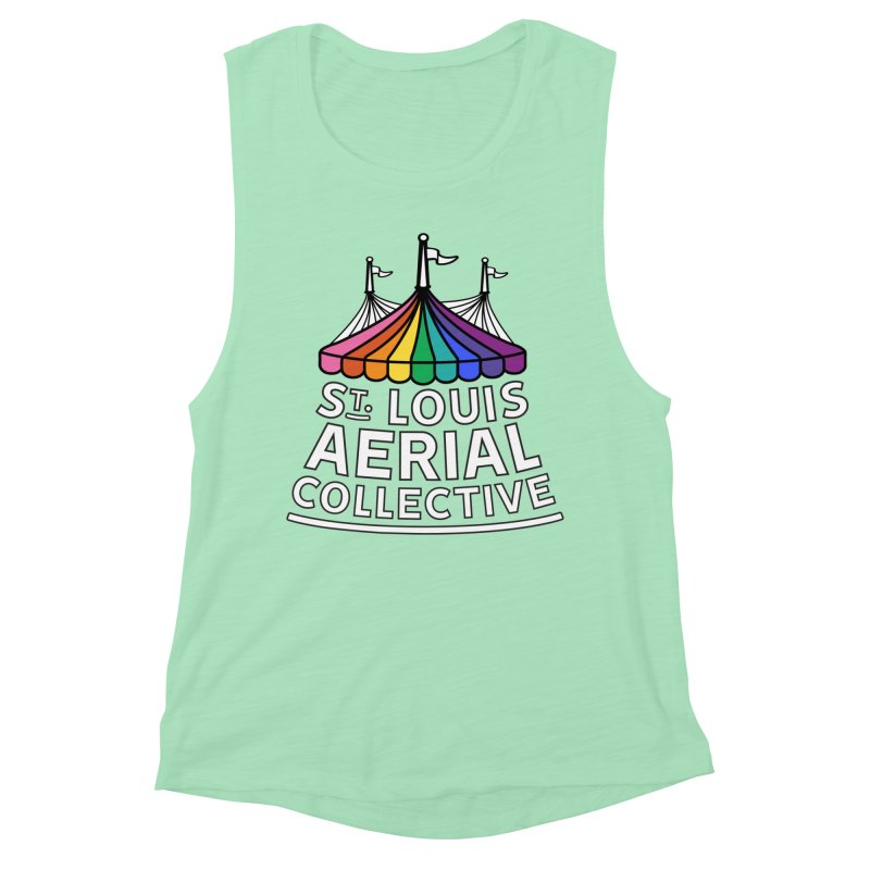 B&W Rainbow Logo Women's Muscle Tank by St. Louis Aerial Collective
