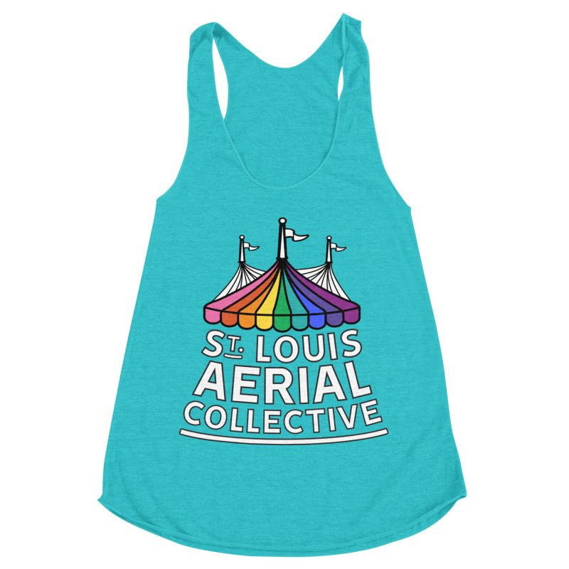 B&W Rainbow Logo Women's Racerback Triblend Tank by St. Louis Aerial Collective