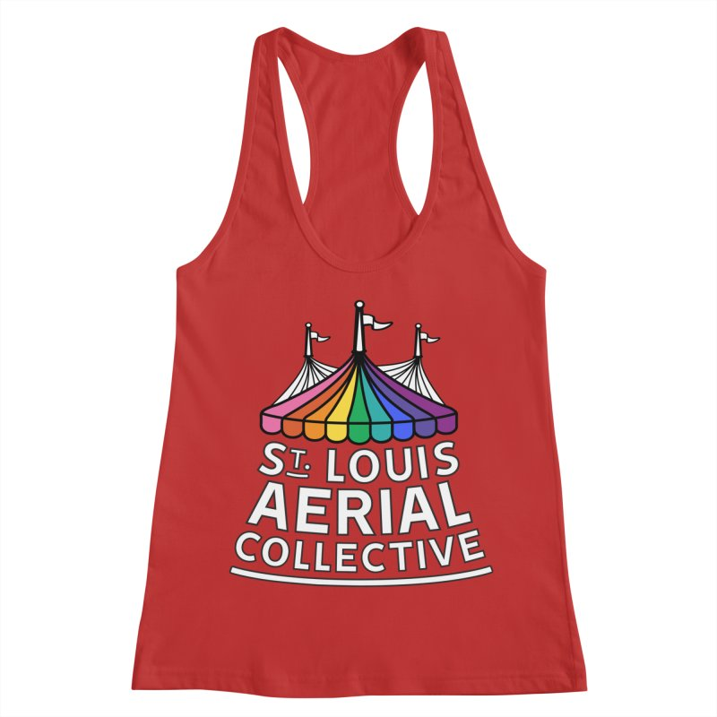 B&W Rainbow Logo Women's Racerback Tank by St. Louis Aerial Collective