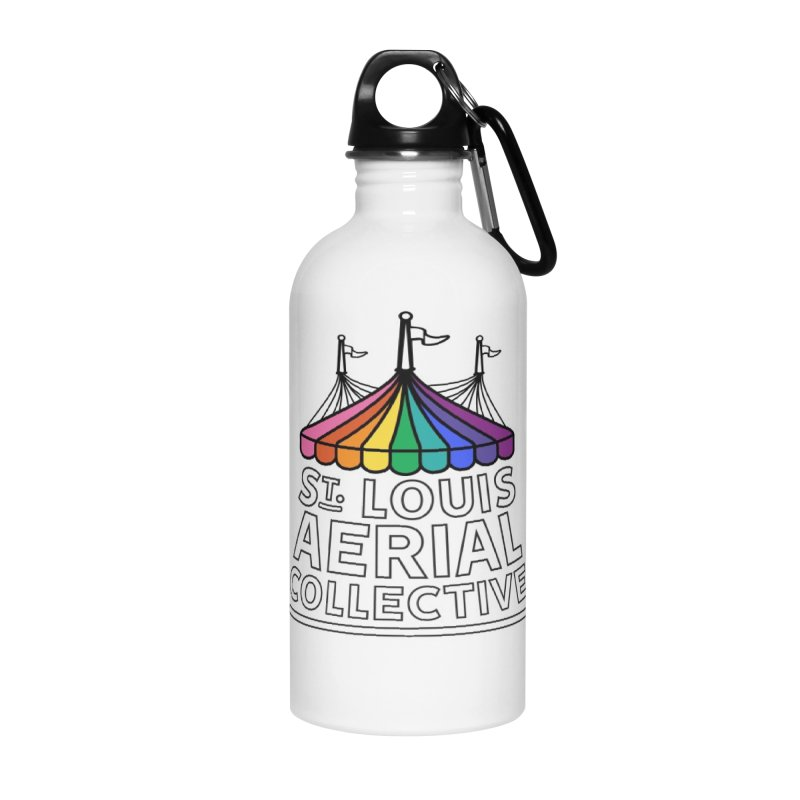 B&W Rainbow Logo Accessories Water Bottle by St. Louis Aerial Collective