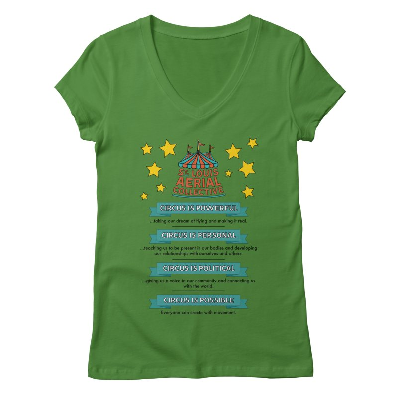 SLAC Mission--color Women's Regular V-Neck by St. Louis Aerial Collective