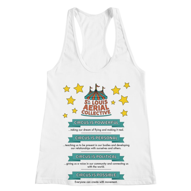 SLAC Mission--color Women's Racerback Tank by St. Louis Aerial Collective