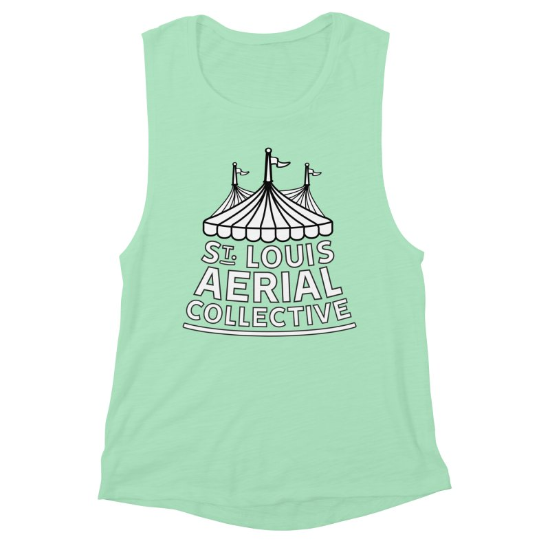 SLAC Classic Black & White Logo Women's Muscle Tank by St. Louis Aerial Collective