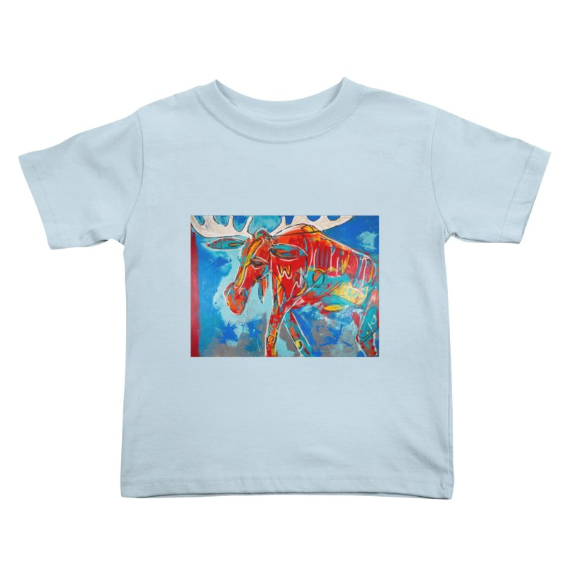 Mister moose was calm and kind, and like to walk everywhere. Kids Toddler T-Shirt by stobo's Artist Shop