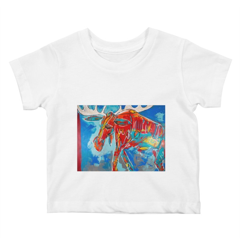 Mister moose was calm and kind, and like to walk everywhere. Kids Baby T-Shirt by stobo's Artist Shop
