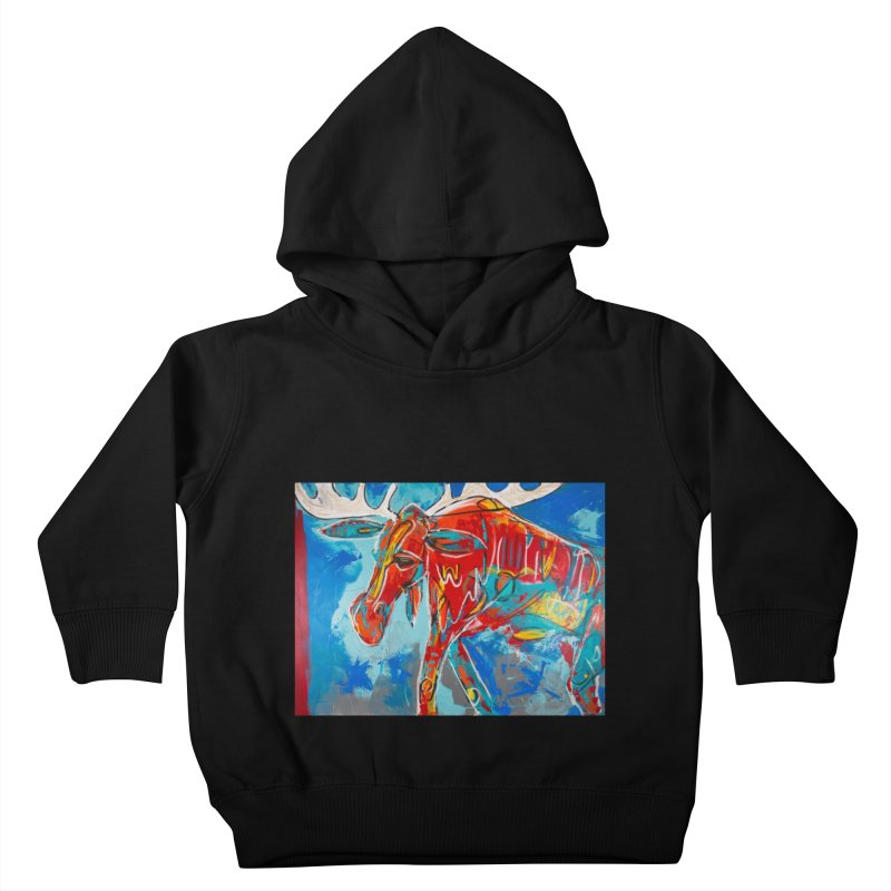 Mister moose was calm and kind, and like to walk everywhere. Kids Toddler Pullover Hoody by stobo's Artist Shop