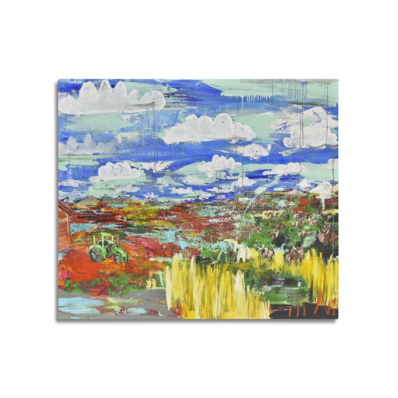 the tractor Home Mounted Aluminum Print by stobo's Artist Shop