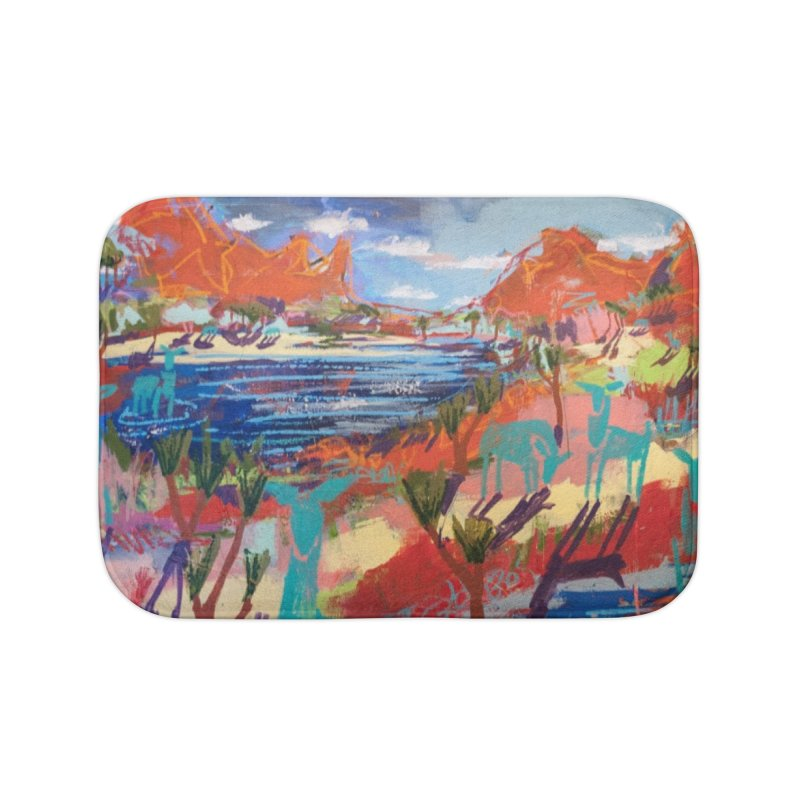 taking a dip and reading books Home Bath Mat by stobo's Artist Shop