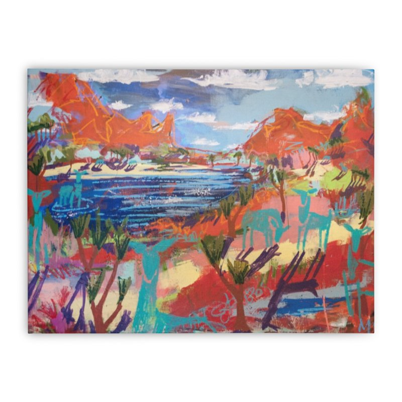 taking a dip and reading books Home Stretched Canvas by stobo's Artist Shop