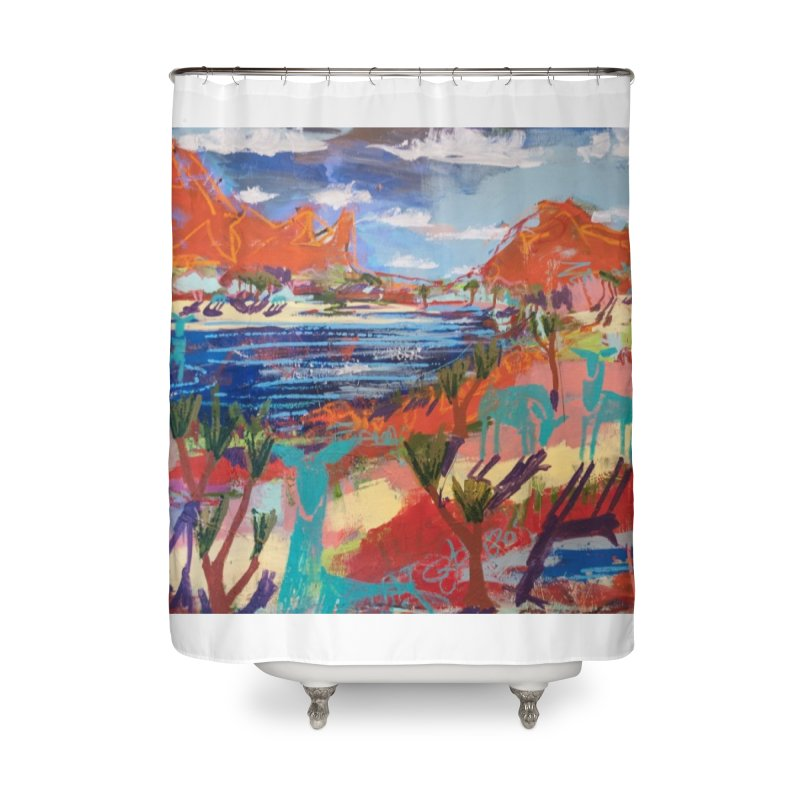 taking a dip and reading books Home Shower Curtain by stobo's Artist Shop