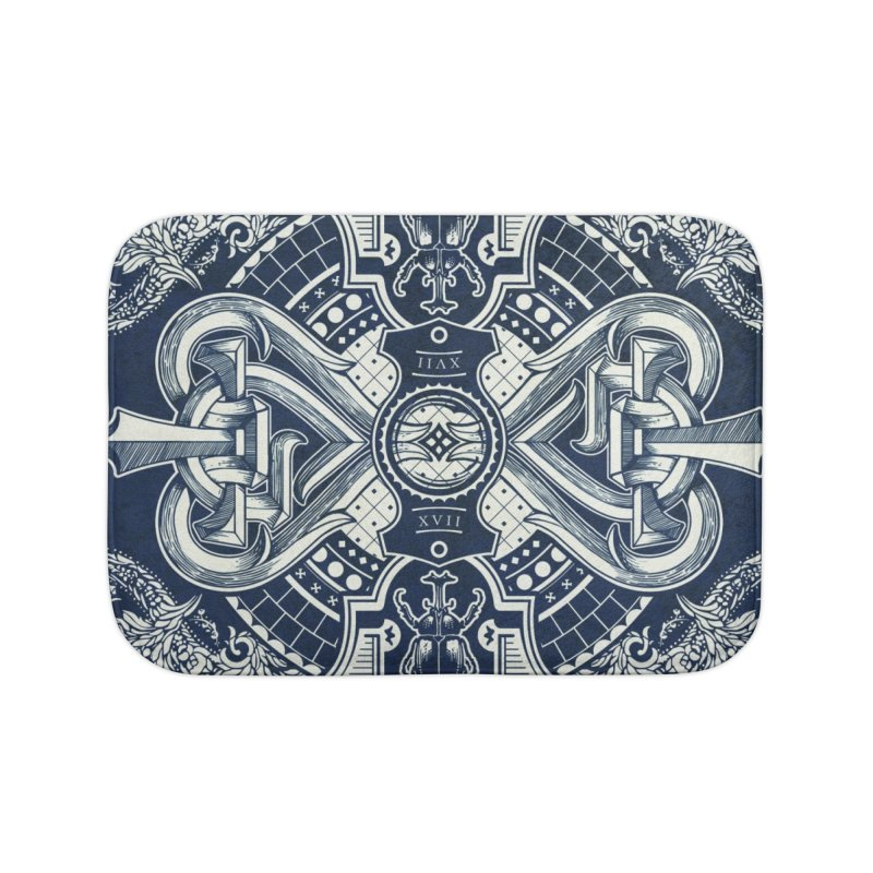 PARLOUR back design Navy Blue Home Bath Mat by stockholm17's Artist Shop