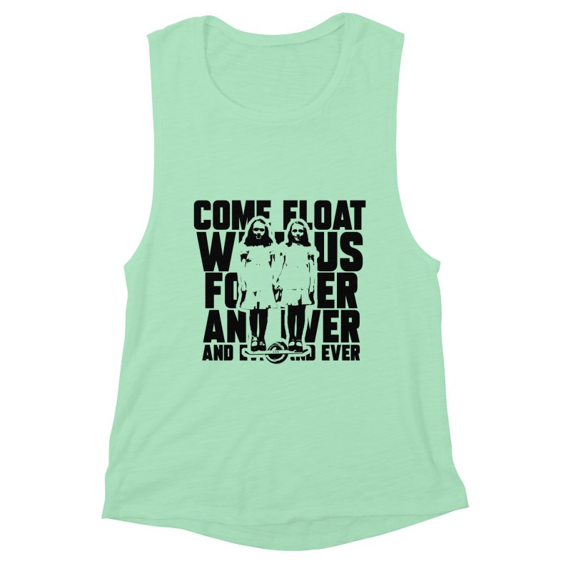 Come Float With Us - Black Women's Muscle Tank by Stoke Butter - Spread the Stoke