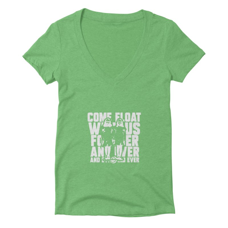 Come Float With Us - White Women's Deep V-Neck V-Neck by Stoke Butter - Spread the Stoke